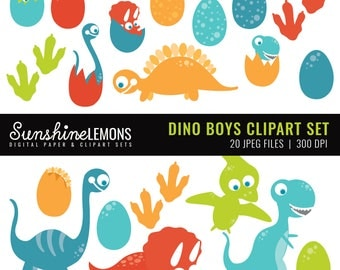 Dino Boys Clipart - Clipart pack set of 20 - COMMERCIAL USE Read Terms Below