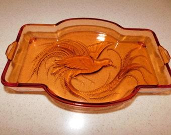 Art Deco - Art Nouveau Style Bowl/Dish/Tray - Amazing Color Amazing Etched Detail - Beautiful Art Glass