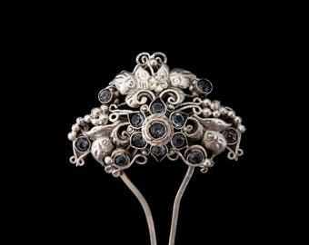 Vintage Indonesian Silver Hair Pin, Filigree Flower Grey Glass Stones, Traditional Bridal Hairpin, Bohemian Pre-Raphaelite, Gift for Her