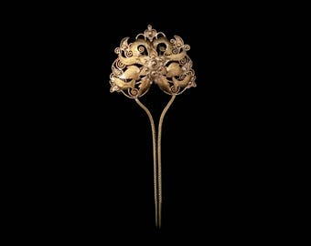 Vintage Indonesian Bronze Hairpin, Traditional Bridal Jewellery, Exotic Filigree Hair Adornment, Romantic Bohemian Pre-Raphaelite Princess