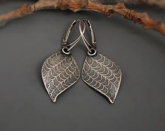 Sterling silver Tree of Heaven seed pod Dangle Earrings