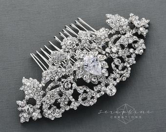 Wedding Hair Comb Bridal Hair Comb Rhinestone Cubic Zirconia Wedding Accessories Bridal Jewelry Clear Sparkly Crystal Vintage Haircomb G09