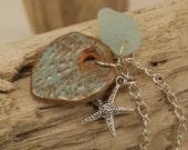 Aqua Sea Urchin Terracotta Diffuser Necklace With Sea Glass   712