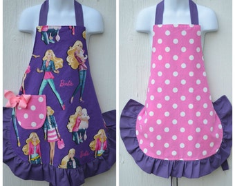 Apron for Little Girls, Barbie Apron, Cute Little Girl Apron, Reversible Apron, Ready to Ship