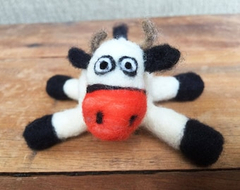 Cow/ Needle Felted Cow/ Ready to ship!!