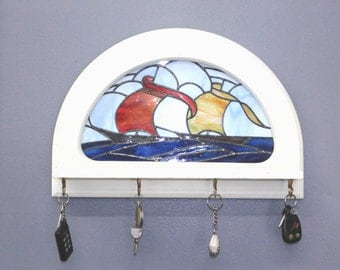 Stained Glass Sailboat Key Holder