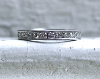 Vintage Beaded Channel 14K White Gold Diamond Wedding Band - 0.55ct