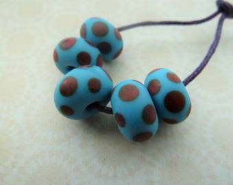 handmade lampwork blue and red spot tumbled glass beads, UK set