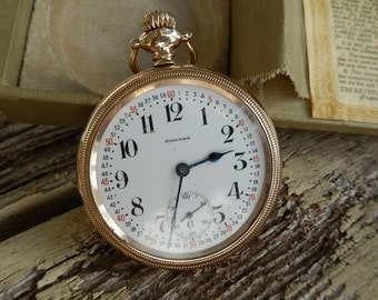 Antique Howard Pocket Watch - Howard Railroad Chronometer - 1913 Pocket Watch - Howard Pocket Watch in Original Box
