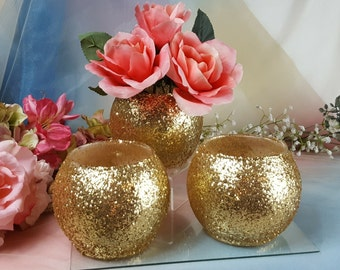 3 per w/ tea lights / Gold Vase or Votive Candle Holders Weddings Holiday Parties, Glitter / Shimmer /  Reception Decoration / Gold Wedding