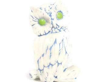 Vintage Ceramic Owl Wall Hanging Plaque Hand Painted Baby Blue Lime Green Owl Decor Retro Kitchen Bedroom