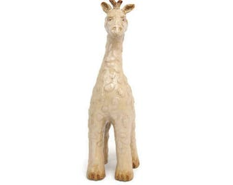Vintage Giraffe Figurine Ceramic Bisque African Decor Large Zoo Animal Theme Nursery Tall Textured Statue