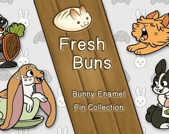 Fresh Buns Bunny Enamel Pin - House Rabbit - Soft Enamel Pin - Bunny lapel pin - Rabbit gift