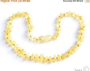 15% OFF Raw Unpolished Baltic Amber Baby Teething Necklace Lemon Color Beads