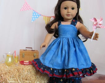 """Ruffled Pants and Top 4th of July Outfit for 18"""" Doll American Made"""