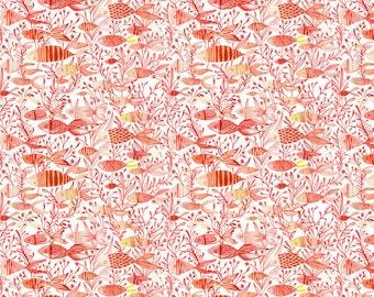 Cori Dantini - Mermaid Days - Here Fishy Fish - Blend Fabrics (112.115.07.2 Coral) - 1 Yard
