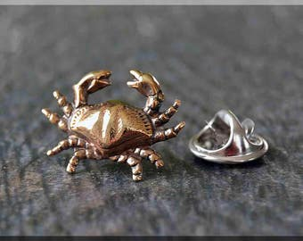 Brass Crab Tie Tac, Lapel Pin, Crab Brooch, Gift for Him, Gift Under 10 Dollars, Beach Theme Tie Tack, Zodiac Cancer Accessory, Unisex Pin