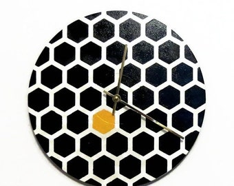 Modern Wall Clock, Hexagon, Black and White Decor, Home Decor, Decor and Housewares, Home and Living,