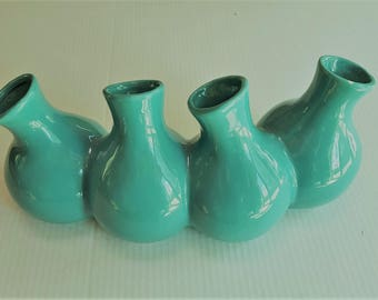 FLOWER VASE MULTIBLE four openings Turquoise color Artificial flowers Real flowers Kitchen dining Home decor'