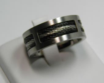 Two Tone Stainless Steel Titanium Ring Size 8