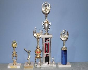 Five Vintage Dance Trophies Marble Bases 1970s - 1980s
