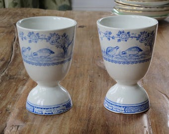Pair of Vintage blue and white duck egg cups