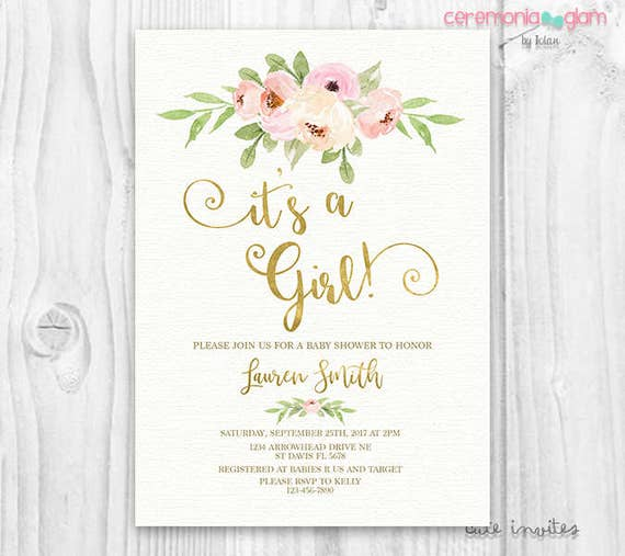 Its a girl BABY SHOWER INVITATION blush and gold pink watercolor