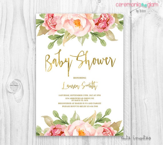 floral baby shower invitation brunch for baby invitation baby girl