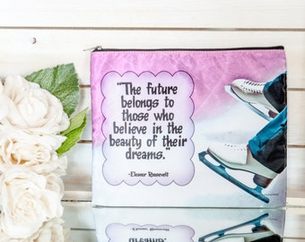 Future Believe Figure Skating Cosmetic Bag Gift for Skaters Makeup Case