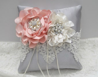 Gorgeous Grey Satin Ring Bearer Pillow with Handmade Blush Pink and Ivory Flowers Alencon Beaded Lace and Pearl Rhinestone Accents