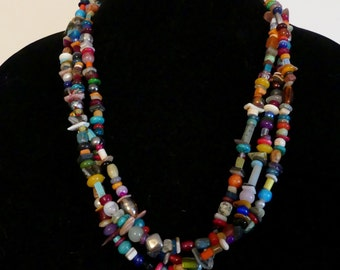 27 Inch Triple Strand Multi Gemstone Necklace with Earrings