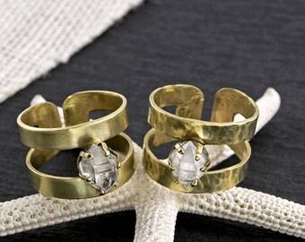 RAW HERKIMER DIAMOND 2 Row Brass Statement Ring