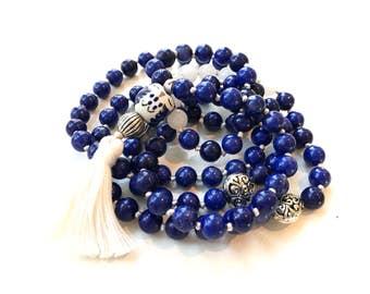 Blue Howlite 108 Bead Japa Mala Prayer Beads for Mantra Meditation