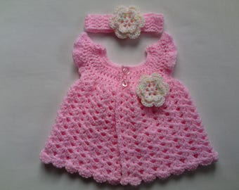 Crochet Baby dress and headband pattern, PDF file tutorial