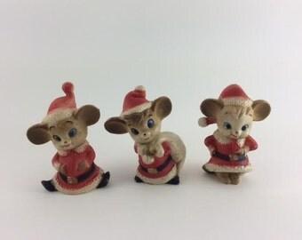 Christmas Mice Santa Mice Elf Mice Santa's Helpers Anthropomorphic Hard Plastic Set of Three Stocking Stuffers
