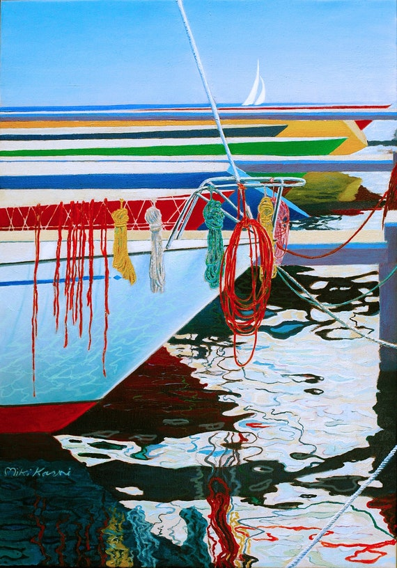Harmony in the Marina. Original Oil Paintings on canvas