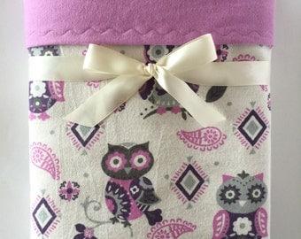 Flannel Blanket - Receiving Blanket - Owl Blanket - Baby Girl Blanket - Lavender Blanket - Swaddle Blanket - Owl Nursery - Toddler Bedding
