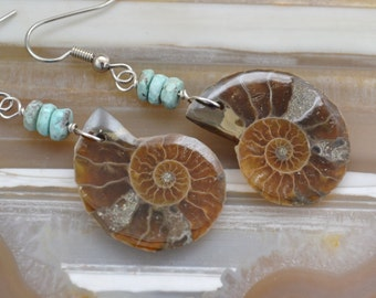 Beautiful Ammonite Fossils and Persian Turquoise Earrings with Sterling Silver