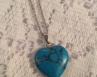 Turquoise Heart Pendant Necklace Vintage Jewelry SPRING SALE