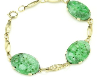 Art Deco Carved Jade Bracelet, 14K Gold, Vintage Jewelry SPRING SALE