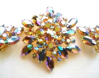 Weiss Glass Brooch Earrings Set, Rainbow Purple Green Lavender, Mid Century Vintage Jewelry SUMMER SALE
