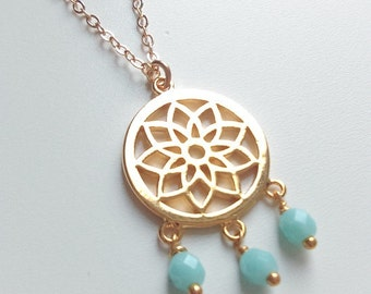 Gold dreamcatcher necklace - Dreamcatcher necklace - 14k gold filled necklace - Gold and turquoise necklace - Boho gypsy hippie jewelry