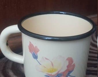 vintage soviet enamel mug cup - cute Flowers - made in the USSR. 80-th