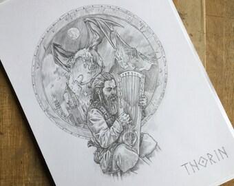 Original Tolkien Sketch - Thorin Oakenshield singing - The Hobbit by J R R Tolkien