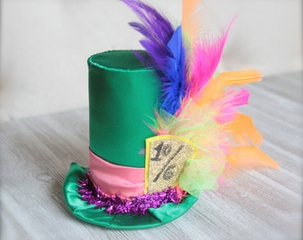 Mad Hatter Green Alice in Wonderland Inspired 10/6 Tea Party Top Hat - Steampunk Mini Top Hat Headband - Photo Prop or Halloween Costume