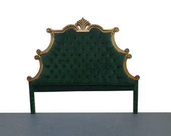 French Provincial Hollywood Regency Style Green Velvet Tufted King Headboard