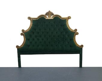 French Provincial Hollywood Regency Style Green Velvet Tufted King Headboard