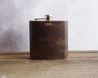 Personalised Leather Boyfriend Flask leather hip flask gift Initalled hip flask for men Customised leather goods Genuine Leather Hip Flask