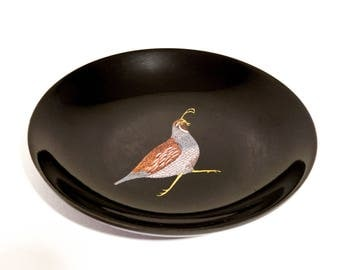 Vintage Quail Bowl Black Melamine Inlay Made by Couroc 1970s