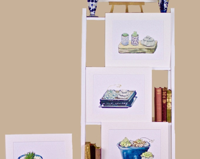 LIMITED EDITIONS 5 Still Lifes with Blue Ceramics, Succulents, Irish Killiney Beach Stones, Art Prints, Zen-like Still Life, Ireland Art